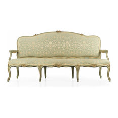 SillaLtd   Consigned French Louis XV Style Green Painted Antique Settee Sofa,  19th Century