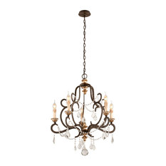Bordeaux 5-Light Chandelier, Small, Parisian Bronze