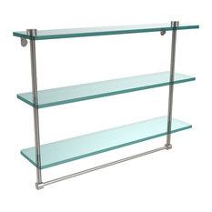 """22"""" Triple Glass Shelf With Towel Bar, Satin Nickel"""