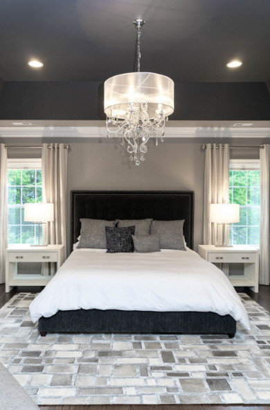 Elegant Master Bedroom in Shades of Gray and a Bit of Navy ...