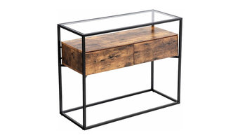 Tempered Glass Side Entryway Table with 2 Drawers and Rustic Shelf, Brown