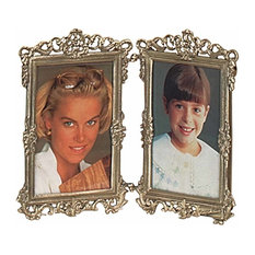 "Picture Frame Antique Brass Frame 7.5""H 