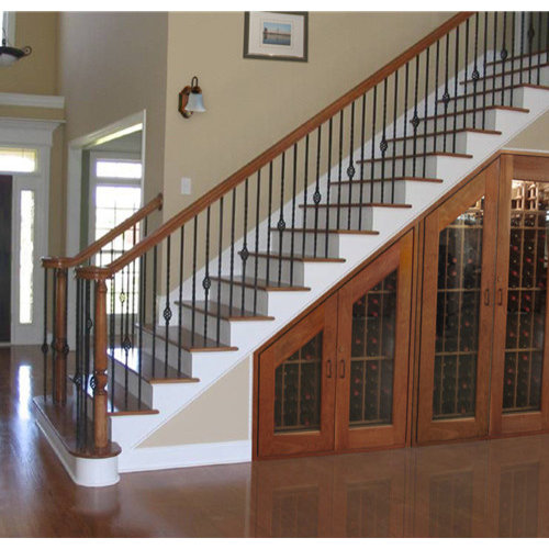 Mid-sized elegant wooden straight wood railing staircase photo in Orange  County
