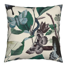 Butterflies Insects Butterfly Garden Floral Throw Pillow Linen Cotton