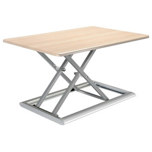 Modern Desk, Particle Board, Air Riser and Cross Designed Legs, White and Grey