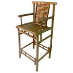 """Master Garden Products - Bamboo Tahiti Bar Stools With Back Support and Arm Rest, 20""""Wx46""""H, Set of 2 - Our bamboo bar stools are constructed with the strong solid bamboo, known as iron bamboo. They have back support with arm rest. Our deluxe Tahiti bar stool with back and arm support for total comfort and relaxation. Both units comes disassembled, easy assembly is required. They can be taken down for easy storage. Sold in a set of 2 pieces. Seat Height: 30"""""""