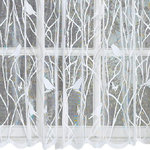 """Songbird White Lace Kitchen Curtain, 56""""x36"""" Tier Pair - The Songbird white lace kitchen curtain from Lorraine Home features songbirds sitting on branches gleefully singing away."""