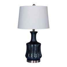 """27.5"""" Riveted Dark Blue Glass & Brushed Steel Metal Genie Bottle Table Lamp"""