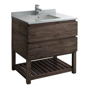 """Formosa Floor Standing Open Bottom Modern Bathroom Cabinet With Top & Sink, 36"""""""