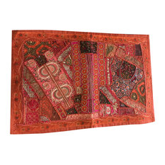 Mogul Interior - Traditional Rust Embroidered Orange Sequin Patchwork Colorful Table Runner - Tapestries