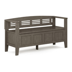 Adams Solid Wood Entryway Storage Bench, Farmhouse Gray