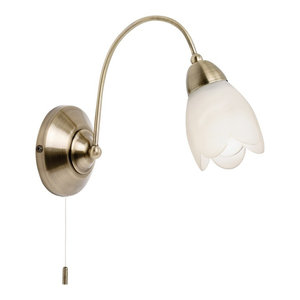 Petal Switched Single Wall Light With Glass, Antique Brass