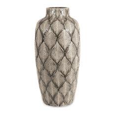 Feathered Oversize Antique Silver Grey Leaf Vase Ceramic Decor