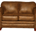 American Furniture Classics - Sedona, Loveseat - The Sedona loveseat features a beautiful leather-look microfiber fabric with rustic antique brass nailhead accents. Solid wood frames and legs create a product that will last for years, and the curved arm design softens this set with elegance. Fiber wrapped, high density foam cushions offer a soft but supportive seating experience.