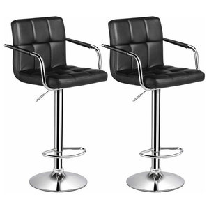 Set of 2 Bar Stools, Faux Leather With Back, Arm and Footrest, Black