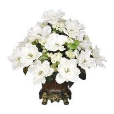50 most popular victorian artificial flowers plants and trees for house of silk flowers inc artificial white magnolia with snowball in brown traditional urn mightylinksfo