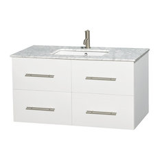 "42"" Single Bathroom Vanity in White, Marble Countertop, Undermount Sink"