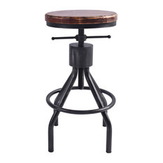 Paris Industrial Adjustable Barstool, Silver Brushed Gray & Rustic Ash Wood Seat