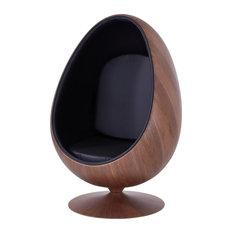 Lindon Cocoon Chair Dark Walnut Frame, Monaco Black