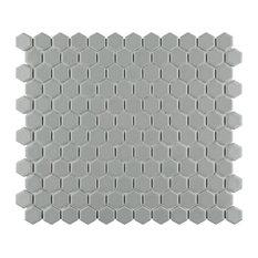 SomerTile Metro Hex Matte Porcelain Mosaic Floor and Wall Tile, Light Grey