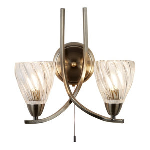 Ascona Double Wall Light, Twist Glass Shade, Antique Brass