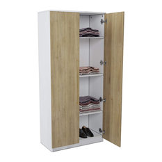 Modern Armoire Cabinet, Two Tone Design With 4 Inner Shelves and Golden Pulls, B