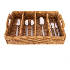 Artifacts Rattan 4-Section Cutlery Holder, Honey Brown