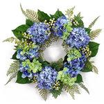 Melrose International - Hydrangea Wreath - Bright blue hydrangea wreath with greenery accents.