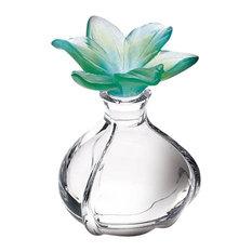 Daum Crystal Amaryllis Green Perfume Bottle 02668