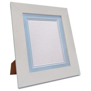 "Brix Frame, White, Blue Double Mount, 6x4"", Image 4.5x2.5"""