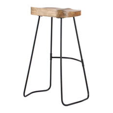 "Romboss Saddle Seat 30"" Bar Stool, Natural and Black"