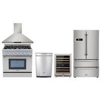 "36"" Gas Range Thor Kitchen 5 Piece Bundle, Natural Gas Range - 5pkg H7w1"