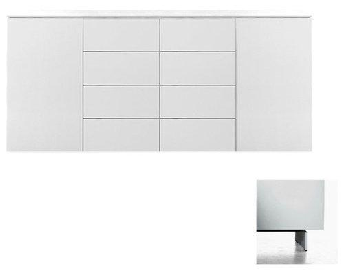 Arctic 40 Sideboard 2D & 8L, Vit/Vita Metallben - Opbevaringsskabe