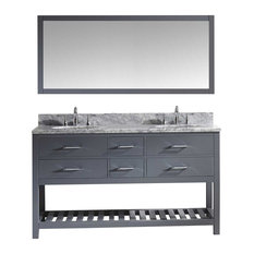Caroline Estate Vanity Set, Gray, White Marble Countertop, White Round Basin, No