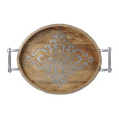 Gg Collection Wood Metal Oval Tray 25 5 X20 X1