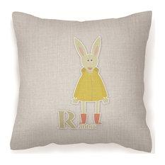 "Alphabet R for Rabbit Decorative Pillow, 18""x18"""
