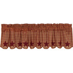 """Ashton & Willow - Kitchen Curtains Cody Burgundy Star Valance Rod, 16""""x60"""" - The Cody Burgundy Star Scalloped Valance 16x72 offers charming small burgundy and tan checks with 5 Point stars appliqued along the scalloped edge in solid burgundy. Lined with luxurious white cotton."""
