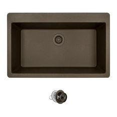 Topmount Single Bowl Quartz Kitchen Sink, Mocha, Colored Strainer