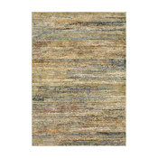 "Aegina Soft Stripes Gold/Green Area Rug, 7'10""x10'10"""