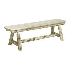 Montana Collection Plank Style Bench, Clear Lacquer Finish, 18x72x18