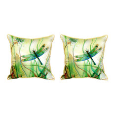 Pair of Betsy Drake Betsy's Dragonfly Small Pillows 11 Inch X 14 Inch