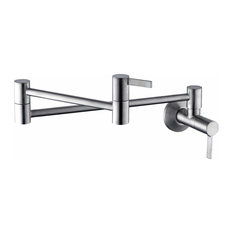 Single-Hole 2-Handle Wall-Mounted Pot Filler, Brushed Nickel