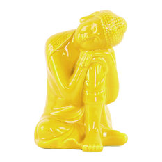 Ceramic Sitting Buddha Sculpture With Rounded Shisha, Yellow