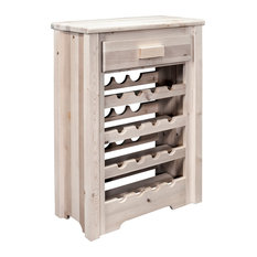 Homestead Collection Wine Cabinet, Clear Lacquer Finish