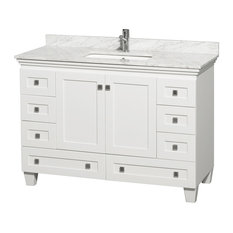 "48"" Acclaim Single Vanity With White Carrera Marble Top, Square Sink, No Mirror"