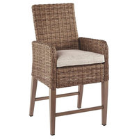 48 in. Barstool with Cushion in Beige - Set of 2
