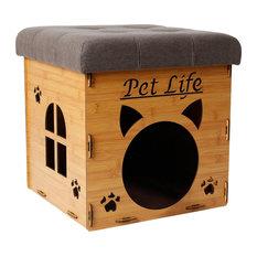 PetLife - Foldaway Collapsible Designer Cat House Furniture Bench, Light Wood - Cat Furniture
