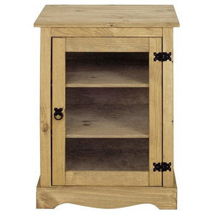 Traditional Cabinet Display Unit, Solid Wood With Glass Door and Inner Shelves