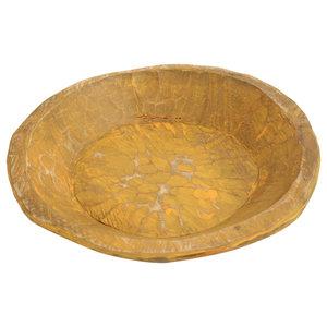 Painted Round Rustic Wooden Dough Bowl, Joyful Orange, Round
