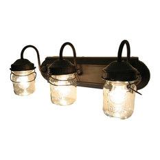 N A Pint Mason Jars Trio Light Fixture Oil Rubbed Bronze Bathroom